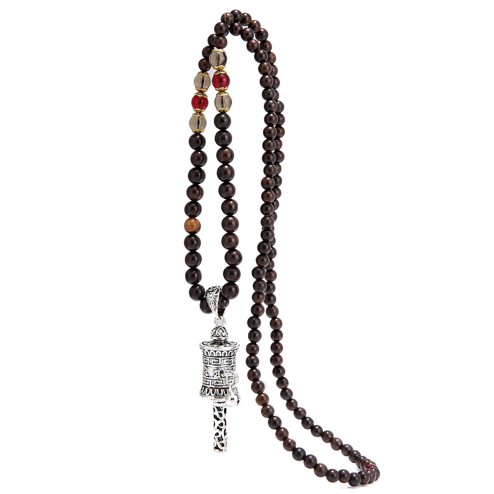 Tibetan Buddhist Mala Beads Necklaces With Prayer Wheel